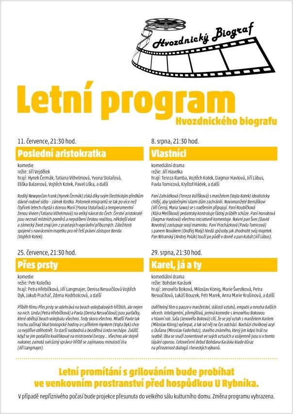 Letní program Hvozdnického biografu